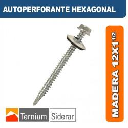 TORNILLO AUTOPERFORANTE HEXAGONAL MADERA 12 por 1 1/2 PLATEADO