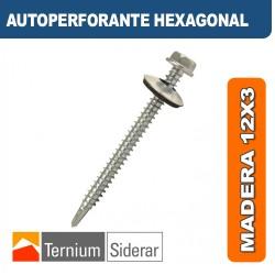 TORNILLO AUTOPERFORANTE HEXAGONAL MADERA 12 por 3 PLATEADO