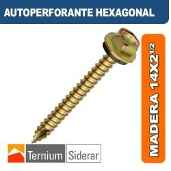 TORNILLO AUTOPERFORANTE HEXAGONAL MADERA 14 por 2 1/2 DORADO