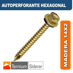 TORNILLO AUTOPERFORANTE HEXAGONAL MADERA 14 por 2 DORADO