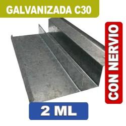 BAJO TEJA CON NERVIO GALVANIZADA C30 X 2 ML