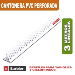 CANTONERA PVC 33MM PERFORADA X 3 MTS