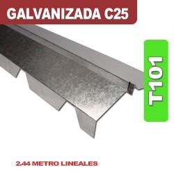 CUMBRERA CON FORMA T101 GALVANIZADA C25 X 2.44 ML