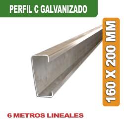 PERFIL C GALVANIZADO 160 x 200 MM x 6 MTS.