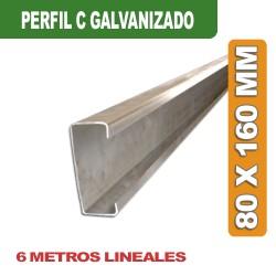 PERFIL C GALVANIZADO 80 x 160 MM x 6 MTS.